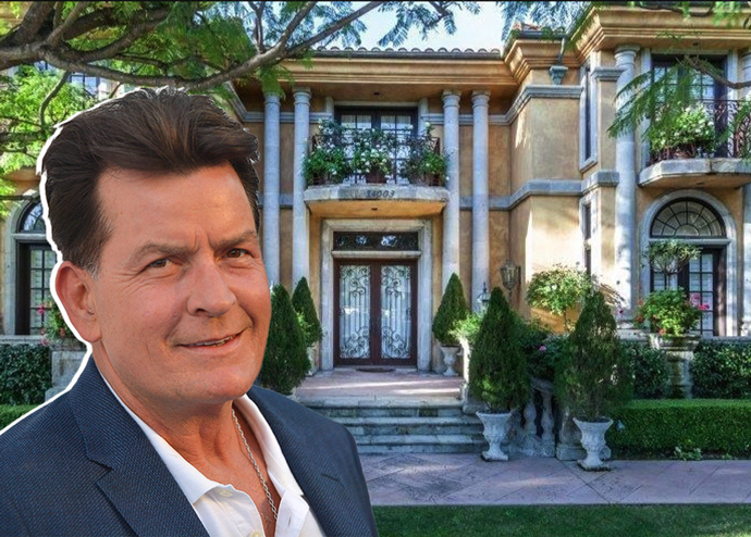 Actor Charlie Sheen and his mansion at 14003 Aubrey Road in Mulholland Estates (Credit: Getty Images and Realtor.com via LAT)