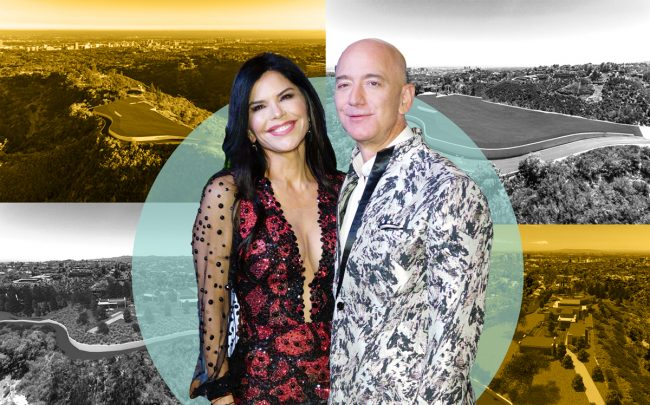 Lauren Sanchez and Jeff Bezos with the property at 1441 Angelo Drive (Credit: Getty Images and Redfin)