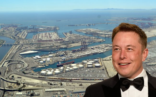 Space X founder Elon Musk and Terminal Island (Credit: Getty Images and Wikipedia)