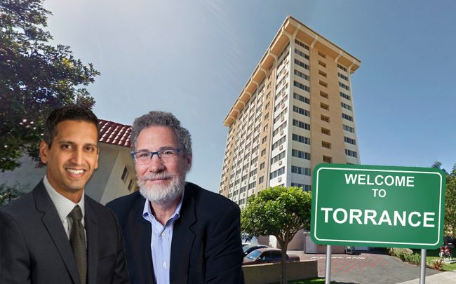 From left: Community Preservation Partners President Anand Kannan and Jonathan Rose Companies founder: Jonathan F.P. Rose, with the Golden West Tower Apartments (Credit: Google Maps and iStock)