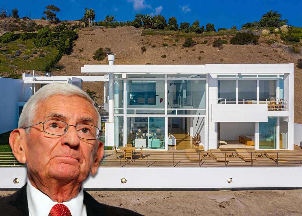 Eli Broad and the home (Credit: Jemal Countess/Getty Images, and SIMON BERLYN/BERLYN MEDIA via The Wall Street Journal)