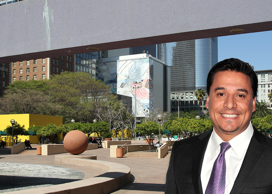 Jose Huizar gave new details Monday on Pershing Square redesign (Credit: Getty Images and Wikipedia)