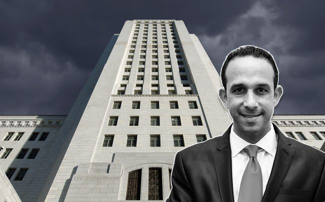 Mitchell Englander in front of L.A. City Hall (Credit: Lilly Lawrence/Getty Images, and iStock)