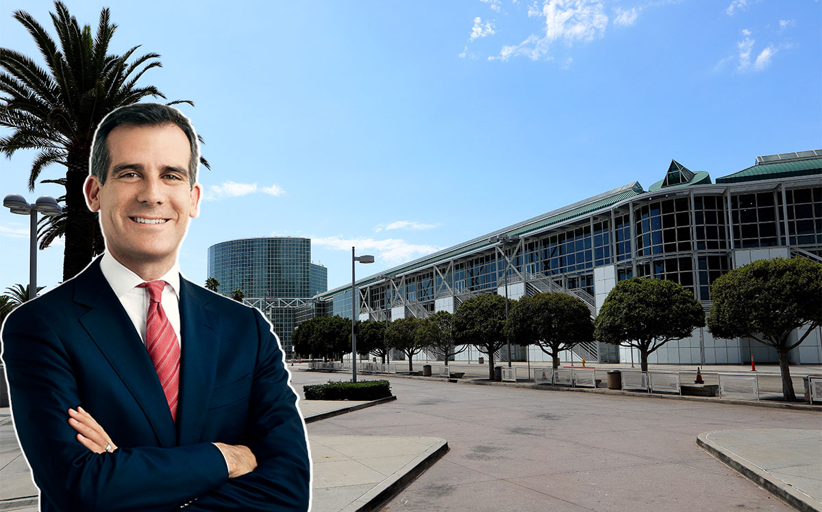 Los Angeles Mayor Eric Garcetti is looking for large spaces to house COVID-19 patients (Credit: Emily Shur/Wikipedia and Raymond Boyd/Getty Images)