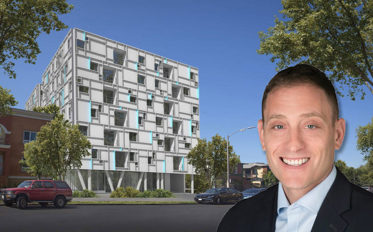 West Hollywood Community Housing Corporation CEO Jesse Slansky and Miramar Gold (Credit: 64North/Urbanize)
