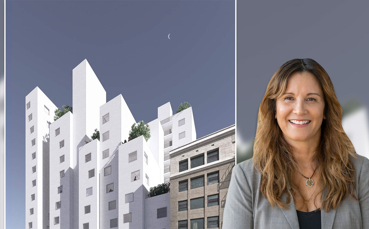 Skid Row Housing Trust CEO Lee Raagas and a rendering of the project (Credit: Michael Maltzan Architecture via Urbanize)