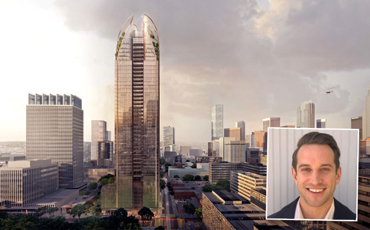 Crown Group's head of U.S. development, Patrick Caruso and a new rendering of the project