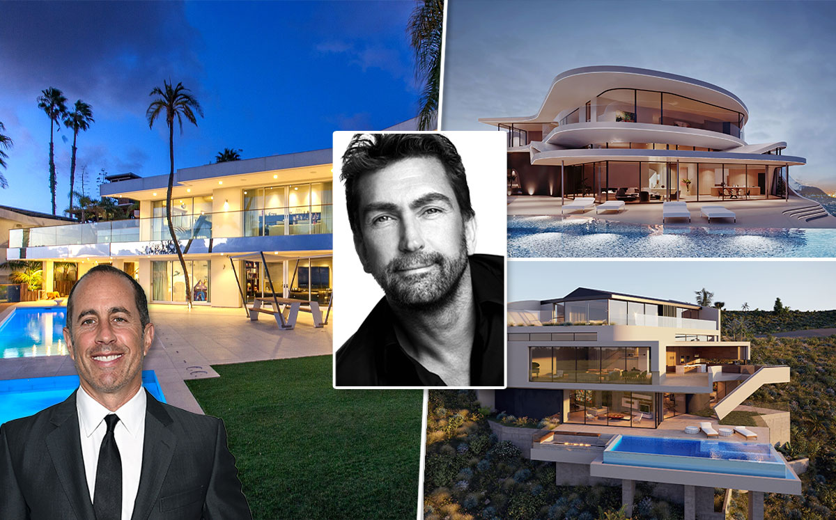 Leslie Benzies, his existing mid-century home with Jerry Seinfeld (left) and renderings of two possible new homes on the properties (right) (Credit: Austin Hargrave/Wikipedia and Larry Busacca/Getty Images)