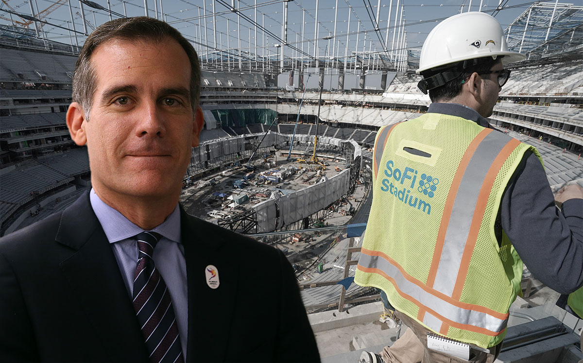 Mayor Eric Garcetti and SoFi Stadium Justin Sullivan and Scott Varley/MediaNews Group/Torrance Daily Breeze via Getty Images)