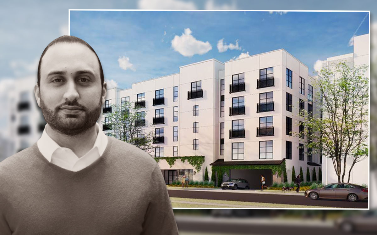 Panorama Group Founder Daniel Kianmahd and a rendering of the project (Credit: KTGY Architecture + Planning