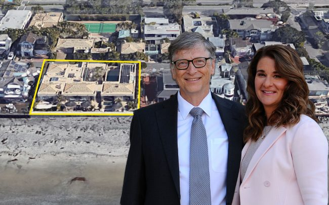 Bill and Melinda Gates and the home (Credit: Frederic Stevens/Getty Images, and Google Maps)