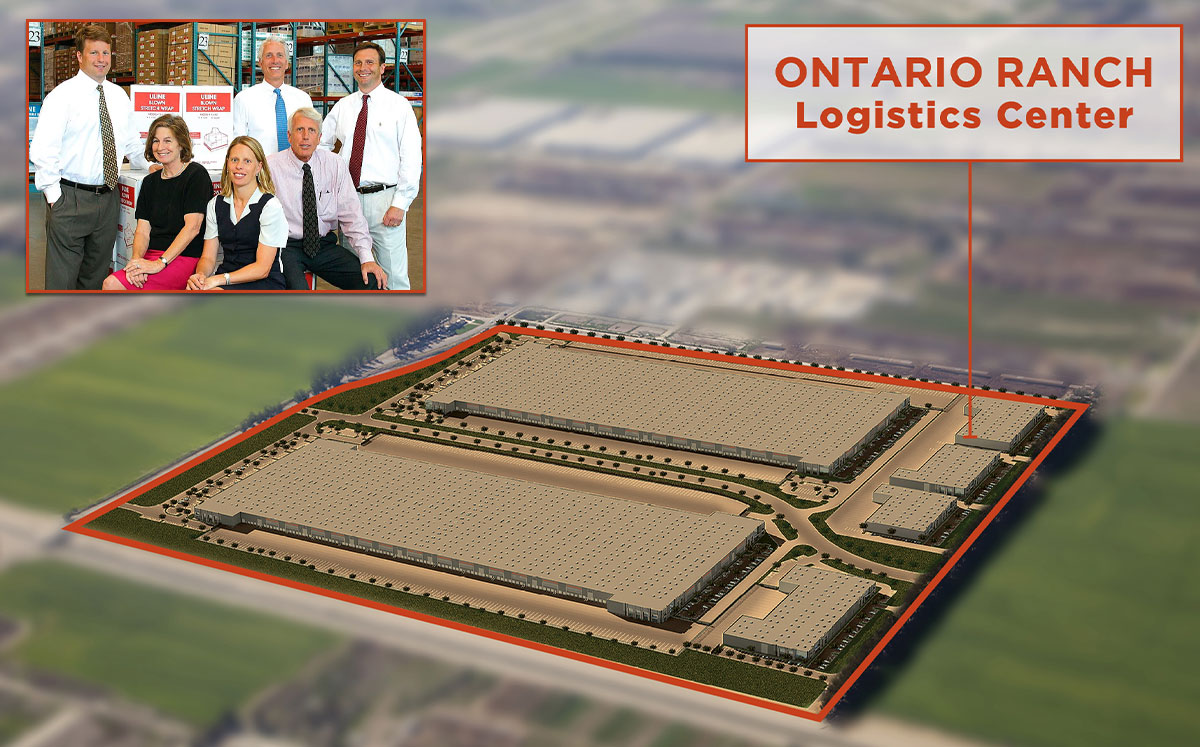 The Uihlein family and a rendering of Ontario Ranch Logistics Center