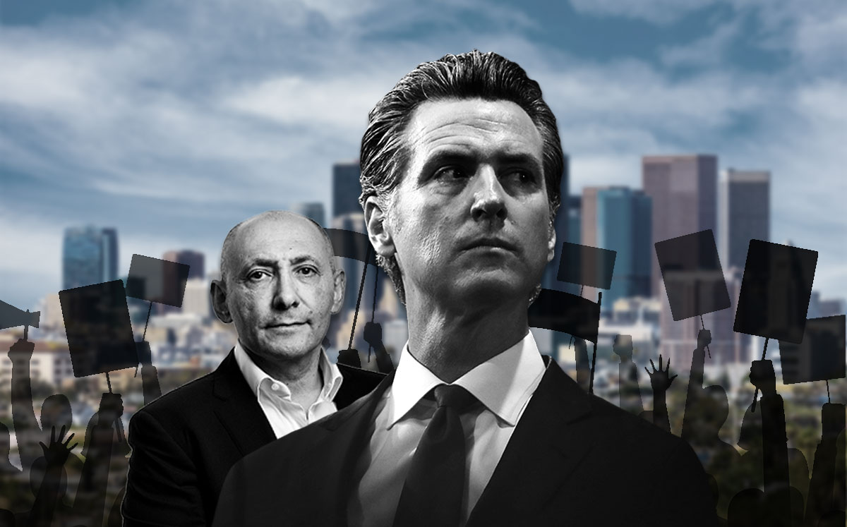 From left: Neil Shekhter and Governor Gavin Newsom (Credit: Kevin Scanlon, Justin Sullivan/Getty Images, and iStock)