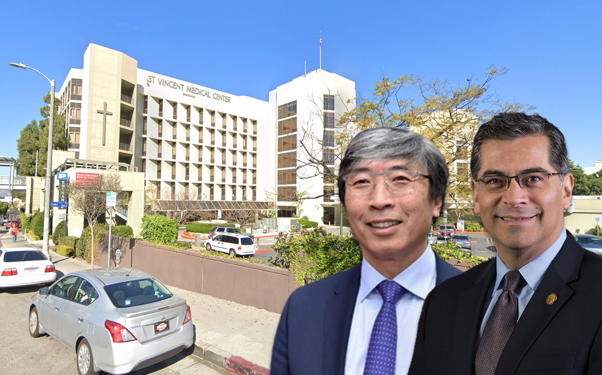 Dr. Patrick Soon-Shiong, California AG Xavier Becerra and St. Vincent's (Credit: Google Maps)
