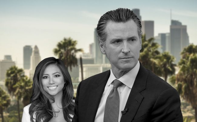 Alicia Cohen, of Nourmand, and Governor Gavin Newsom (Credit: Anda Chu/MediaNews Group/The Mercury News via Getty Images)