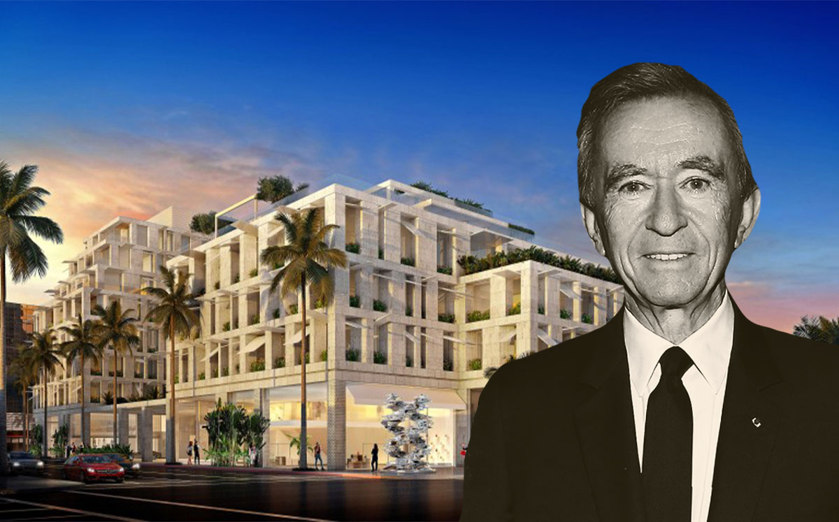 LVMH CEO Bernard Arnault and a rendering of the Cheval Blanc (Credit: Bertrand Rindoff Petroff/Getty Images and Peter Marino Architect/LA Times)