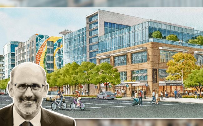 Unibail-Rodamco-Westfield's Larry Green and a rendering of the project (Credit: Westfield Promenade 2035)