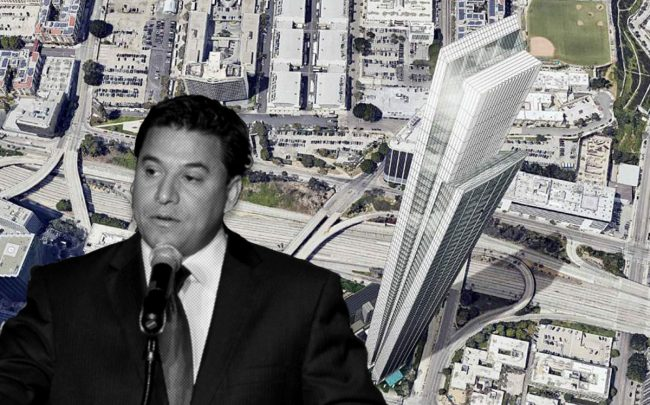 Jose Huizar and the proposed tower (Credit: Rebecca Sapp/WireImage via Getty Images. and Los Angeles Department of City Planning via The Architect's Newspaper)