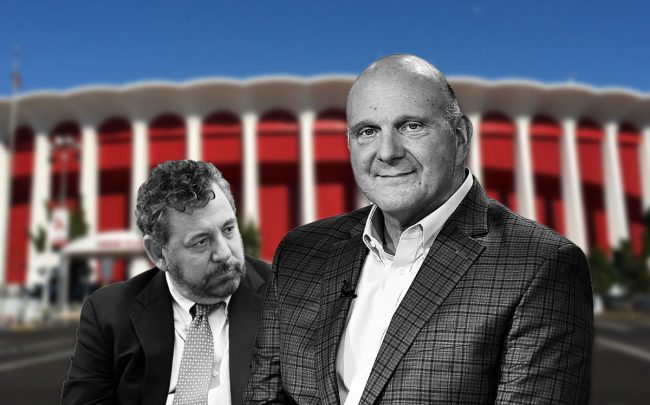 James Dolan and Steve Ballmer, with The Forum (Credit: John Lamparski/WireImage via Getty Images, Steven Ferdman/Getty Images, and Ritapepaj/Wikipedia)