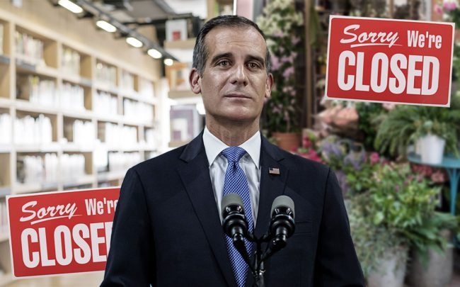 Los Angeles Mayor Eric Garcetti (Credit: Marcus Yam/Los Angeles Times via Getty Images)
