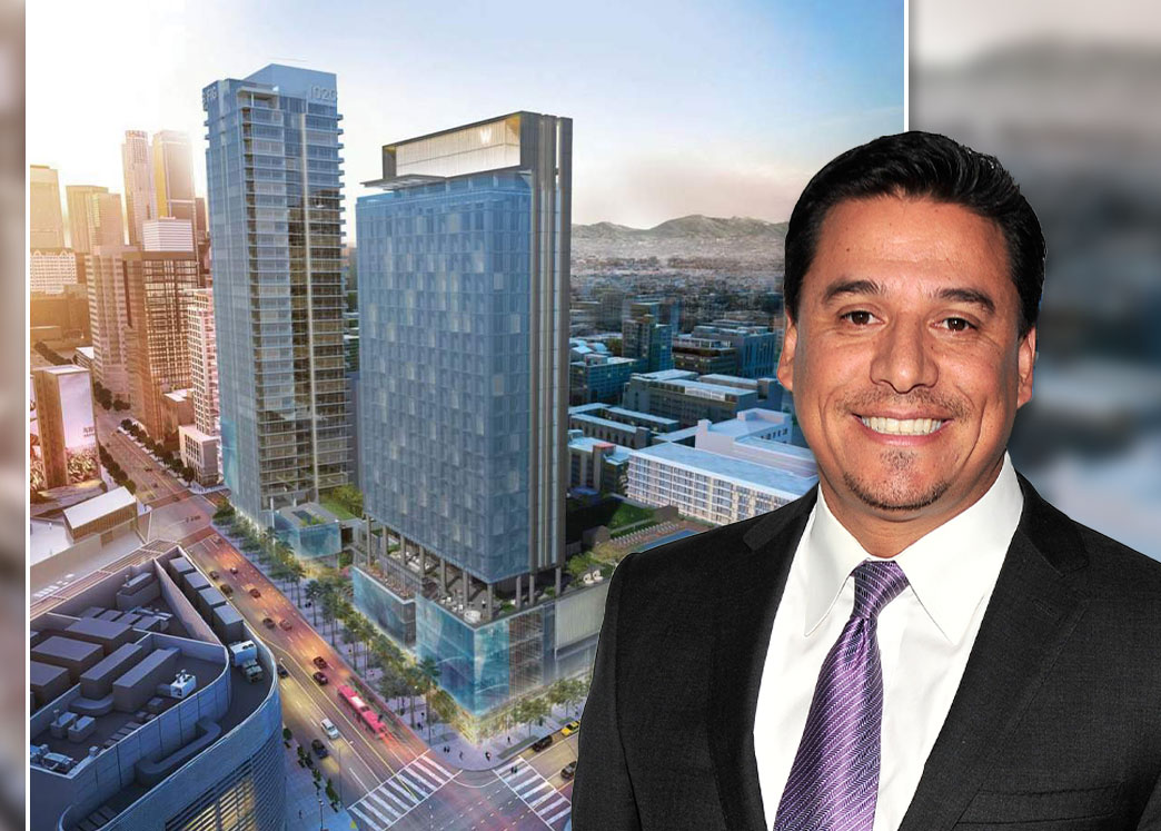 Los Angeles City Councilman Jose Huizar and a rendering of the project (Credit: Jerod Harris/Getty Images, and Gensler via Urbanize)