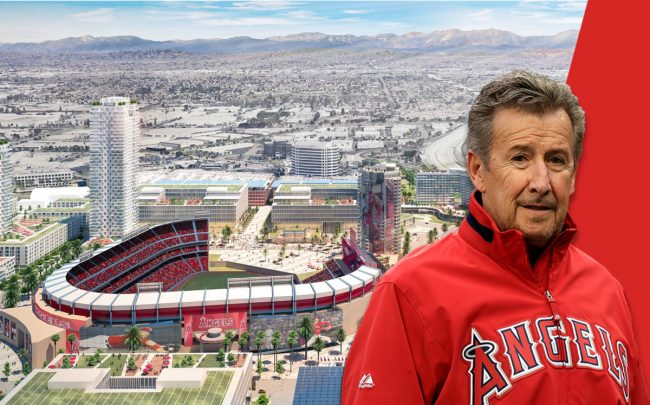 Arte Moreno, owner of the Los Angeles Angels, and a rendering of the project (Credit: Sean M. Haffey/Getty Images)