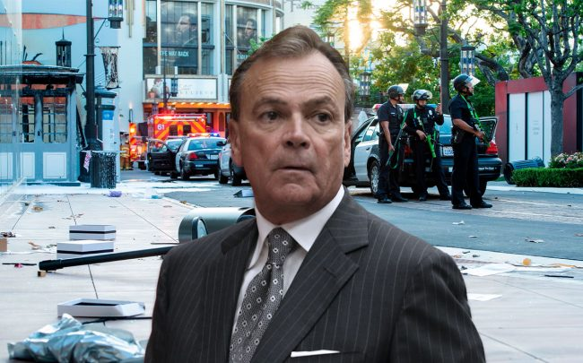 Rick Caruso and vandalized shops at the Grove shopping center (Credit: Jevone Moore/Icon Sportswire, and VALERIE MACON/AFP via Getty Images)