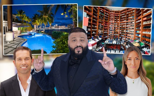 DJ Khaled, Julian Johnston, and Cat Gomez, with 3914 Island Estates Drive in Aventura (Credit: Life Style Production Group for One Sotheby's)