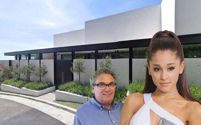 Robert Shapiro and Ariana Grande, with the home (Credit: Jon Kopaloff/FilmMagic via Getty Images, and Google Maps)