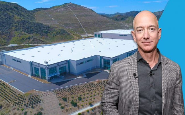 Jeff Bezos and the IAC Commerce Center (Credit: Phillip Faraone/Getty Images and IAC Commerce Center)
