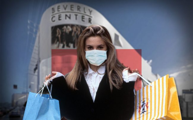Alicia Silverstone from the film 'Clueless', 1995, and a rendering of the Beverly Center (Credit: Paramount Pictures/Getty Images, and Beverly Center via Los Angeles Times)
