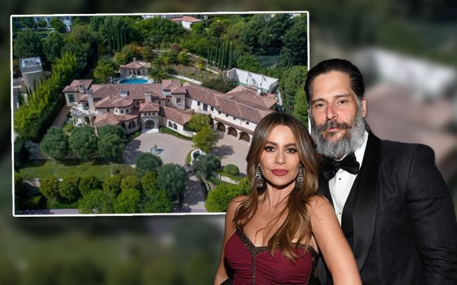 Sofía Vergara and Joe Manganiello, with the home (Credit: Kevin Mazur/Getty Images, and Realtor.com via Dirt.com)