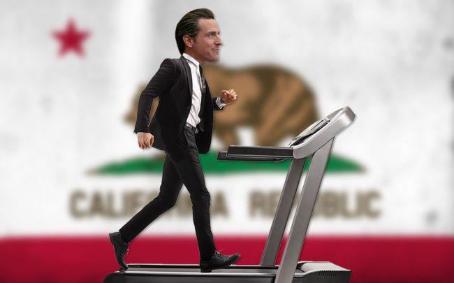 An illustration of Gavin Newsom (Credit: Justin Sullivan/Getty Images and iStock)