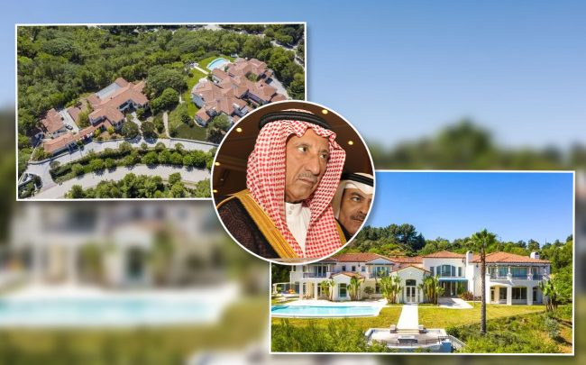 Saudi Prince Turki bin Nasser and the home (Credit: AMER HILABI/AFP via Getty Images, and Redfin via Dirt.com)