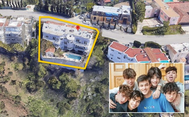 Sway House members and the mansion (Credit: Google Maps and Famous Birthdays)