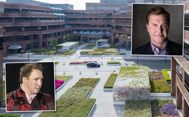 Rossano De Cotiis, Tom Grane of Mob Scene, and Wilshire Courtyard (Credit: LinkedIn and Michael Maltzan Architecture)