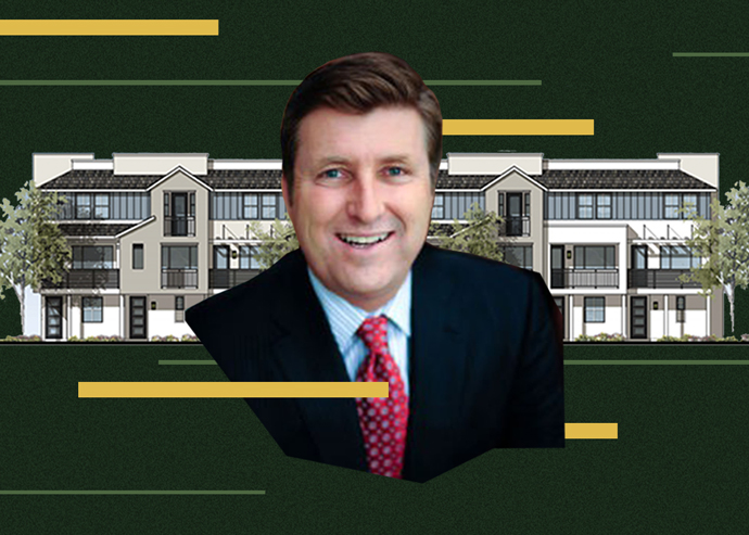 City Ventures CEO Mark Buckland and a rendering of one of the townhouses