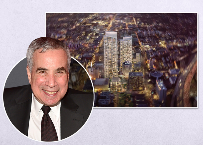 Phillip Aarons and a rendering of the project (Credit: Patrick McMullan via Getty Images)
