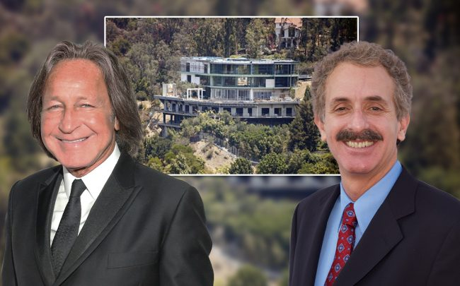 Mohamed Hadid and Mike Feuer, with the mansion (Credit: Rochelle Brodin/Getty Images, and Earl Gibson III/Getty Images)