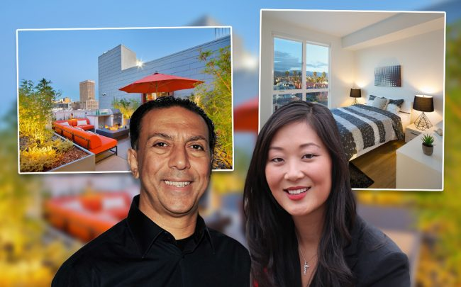Neil Kadisha, Jaime Lee, and the building (Credit: CHANCE YEH/Patrick McMullan via Getty Images)