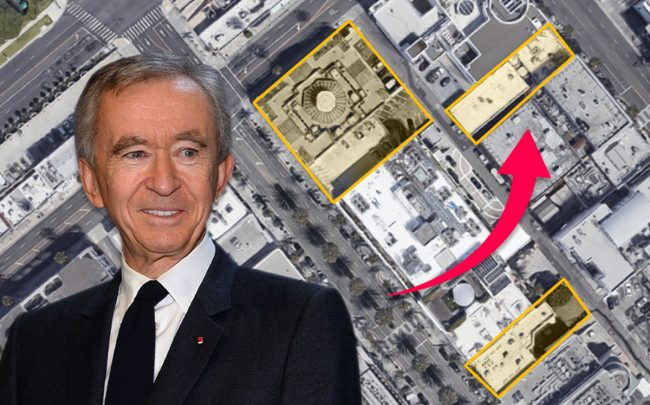 Bernard Arnault and a map of the properties (Credit: ERIC PIERMONT/AFP via Getty Images, and Google Maps)