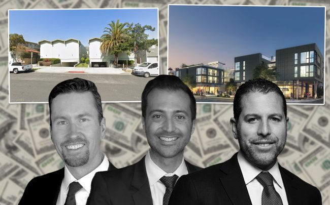 WS Communities CEO Scott Walter and VP of Finance Gregory Proniloff, Madison Realty Capital's Josh Zegen, 1433 Euclid Street in Santa Monica; and rendering of mixed-use project at 3030 Nebraska Avenue in Santa Monica (Credit: Google Maps and Madison Realty Capital)