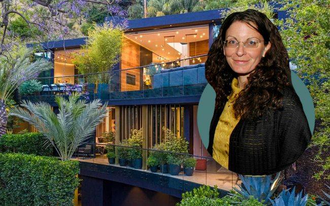 Clare Bronfman and 8517 Franklin Avenue (Patrick McMullan/Getty, Zillow)