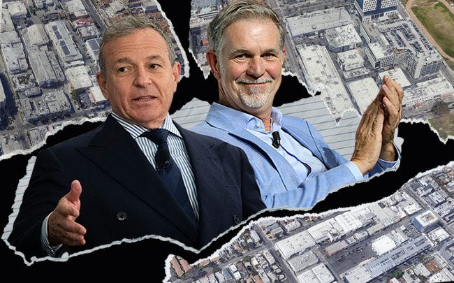 Bob Iger, Reed Hastings and (clockwise from top left) Sunset Las Palmas, Sunset Bronson and Sunset Gower Studios (Getty, Google Maps)