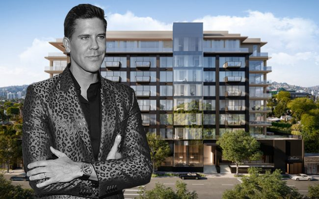 Frederik Eklund and a rendering of 8899 Beverly Boulevard (Getty, building courtesy of 8899 Beverly)