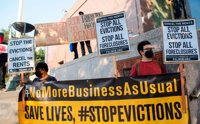 Renters and housing advocates attend a protest to cancel rent and avoid evictions in front of the court house in Los Angeles (Credit: VALERIE MACON/AFP via Getty Images)