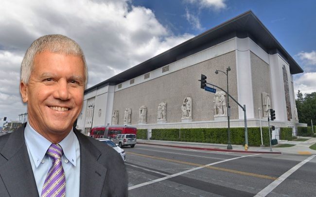 Larry Gagosian and the building (Credit: Google Maps)