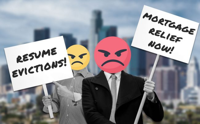 Landlords are organizing a protest around the lack of mortgage relief government policies and the inability to hit tenants with eviction notices.