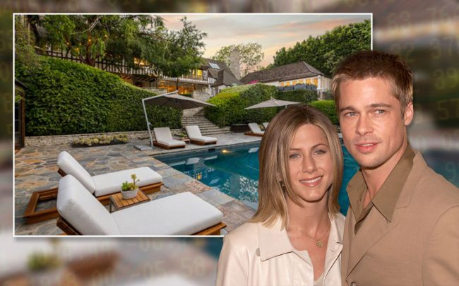Jennifer Aniston and Brad Pitt with the home (Credit: Kevin Winter/Getty Images)