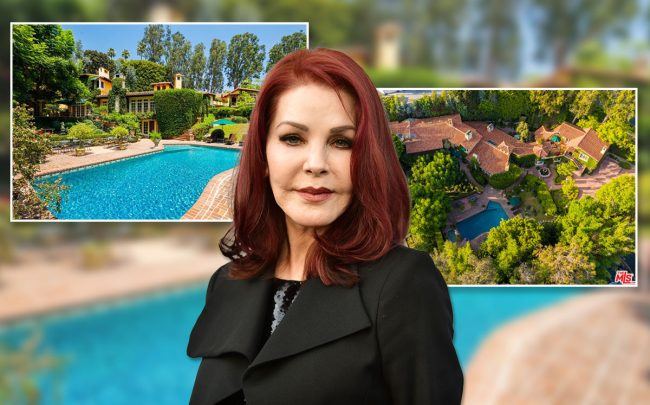 Priscilla Presley and the home (Credit: Rodin Eckenroth/FilmMagic via Getty Images, and Hilton & Hyland)